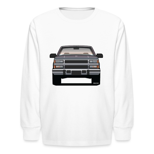 Design Icon: American Bowtie Silver Urban Truck - Kids' Long Sleeve T-Shirt