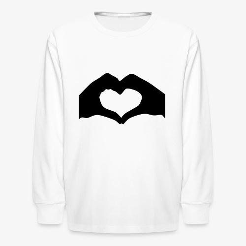 Silhouette Heart Hands | Mousepad - Kids' Long Sleeve T-Shirt