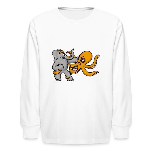 Elephant vs. Octopus T-Shirt - Kids' Long Sleeve T-Shirt
