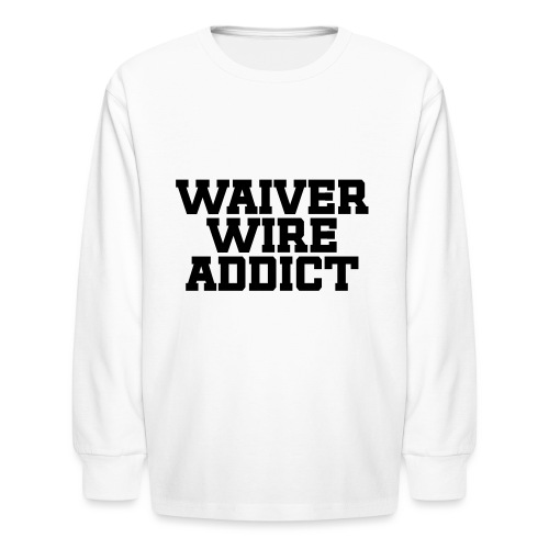Waiver Wire Addict (Turquoise & Metallic Gold) - Kids' Long Sleeve T-Shirt