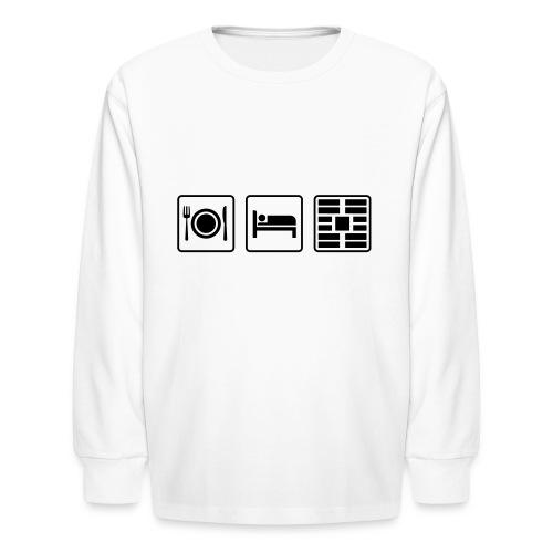 Eat Sleep Urb big fork - Kids' Long Sleeve T-Shirt