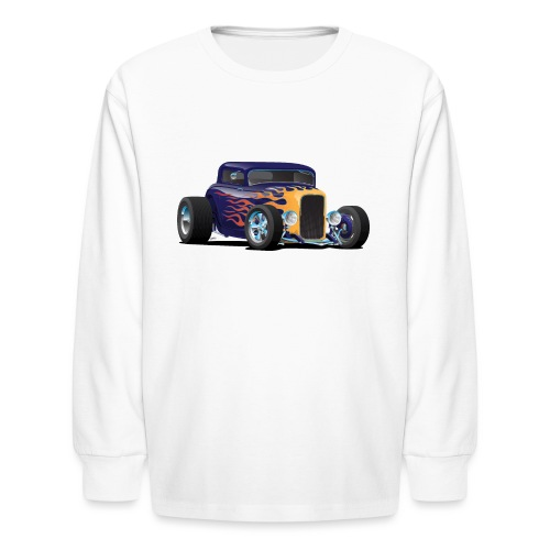 Vintage Hot Rod Car with Classic Flames - Kids' Long Sleeve T-Shirt