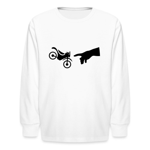 The hand of god brakes a motorcycle as an allegory - Kids' Long Sleeve T-Shirt