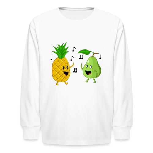Dancing Pineapple and Pear - Kids' Long Sleeve T-Shirt