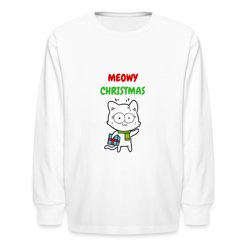 MEOWY CHRISTMAS HOLIDAY CAT - Kids' Long Sleeve T-Shirt
