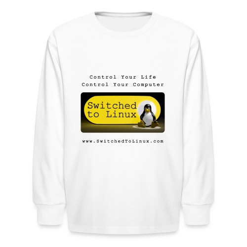 Switched to Linux Logo with Black Text - Kids' Long Sleeve T-Shirt