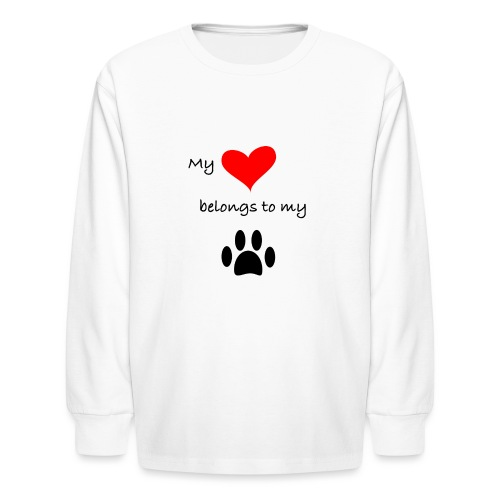 Dog Lovers shirt - My Heart Belongs to my Dog - Kids' Long Sleeve T-Shirt