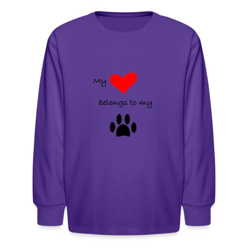 Dog Lovers shirt - My Heart Belongs to my Dog - Kids' Long Sleeve T-Shirt