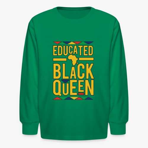 Dashiki Educated BLACK Queen - Kids' Long Sleeve T-Shirt