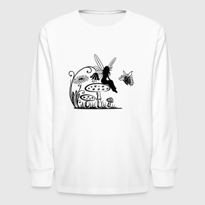 Little fairy on a mushroom - Kids' Long Sleeve T-Shirt