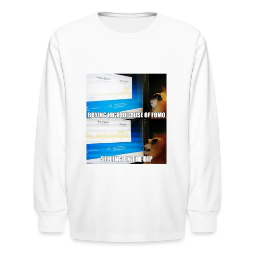 Crypto Lion Buying High and Selling Low - Kids' Long Sleeve T-Shirt