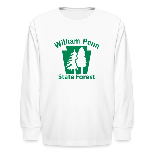 William Penn State Forest Keystone (w/trees) - Kids' Long Sleeve T-Shirt