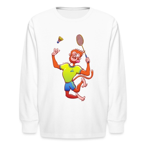 Red Monkey Playing Badminton - Kids' Long Sleeve T-Shirt