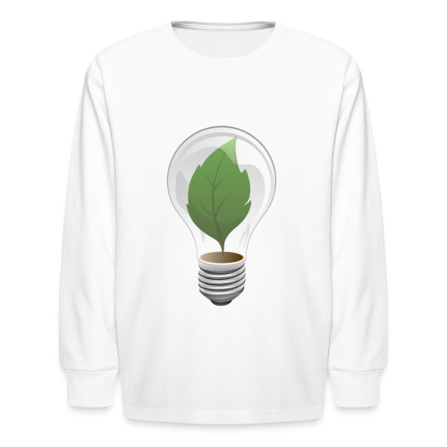 Clean Energy Green Leaf Illustration - Kids' Long Sleeve T-Shirt