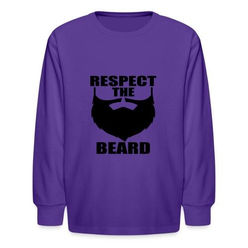 Respect the beard 03 - Kids' Long Sleeve T-Shirt