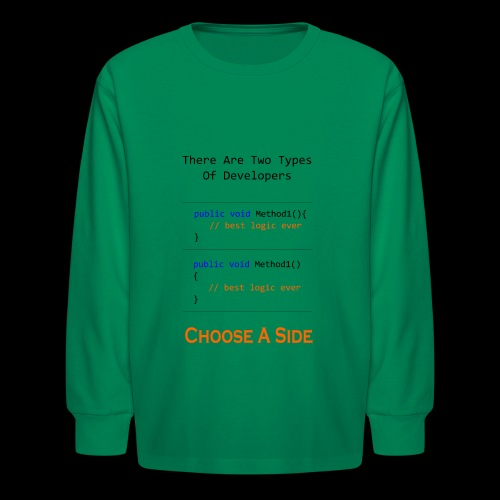 Code Styling Preference Shirt - Kids' Long Sleeve T-Shirt
