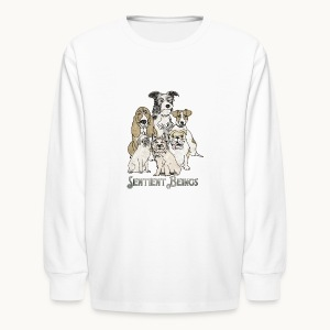 DOGS-SENTIENT BEINGS-white text-Carolyn Sandstrom - Kids' Long Sleeve T-Shirt