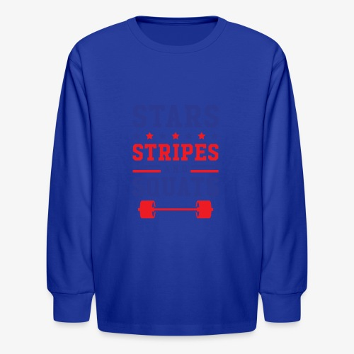 Stars, Stripes And Squats - Kids' Long Sleeve T-Shirt