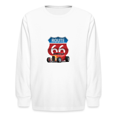 Route 66 Sign with Classic American Red Hotrod - Kids' Long Sleeve T-Shirt