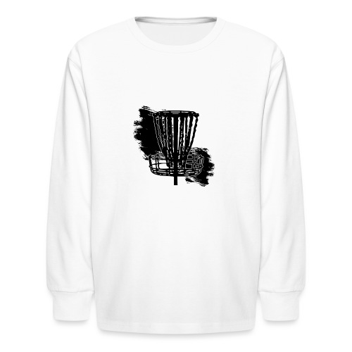 Disc Golf Basket Paint Black Print - Kids' Long Sleeve T-Shirt