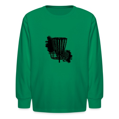 Disc Golf Basket Paint Black Print - Kids' Long Sleeve T-Shirt