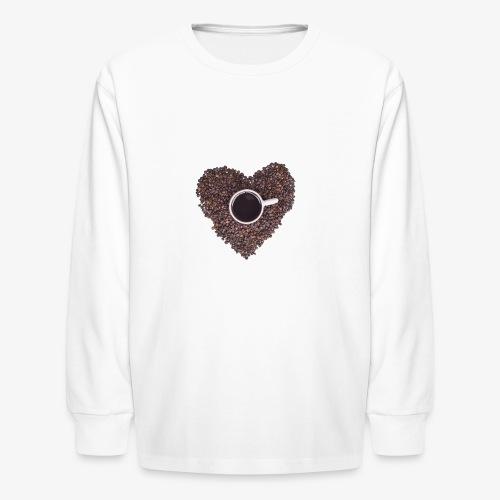 I Heart Coffee Black/White Mug - Kids' Long Sleeve T-Shirt