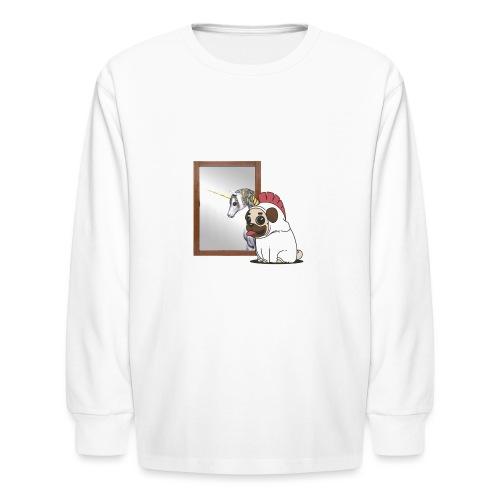 unipug looking in mirror - Kids' Long Sleeve T-Shirt