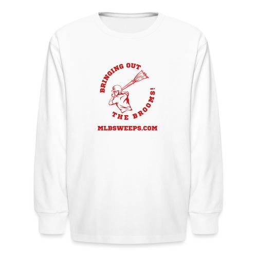 MLB Sweeps Logo and tagline with URL (Light) - Kids' Long Sleeve T-Shirt