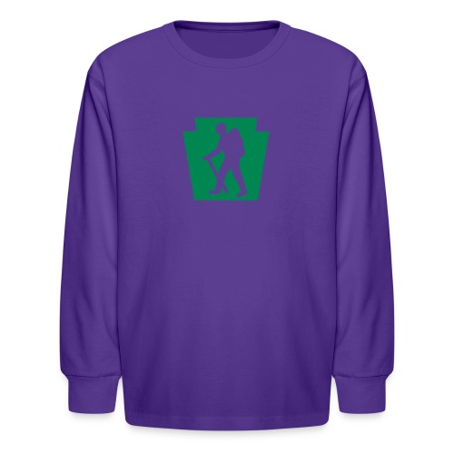 PA Keystone w/Male Hiker - Kids' Long Sleeve T-Shirt