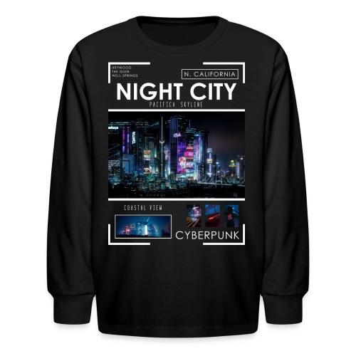 Night City Pacifica Skyline - Kids' Long Sleeve T-Shirt