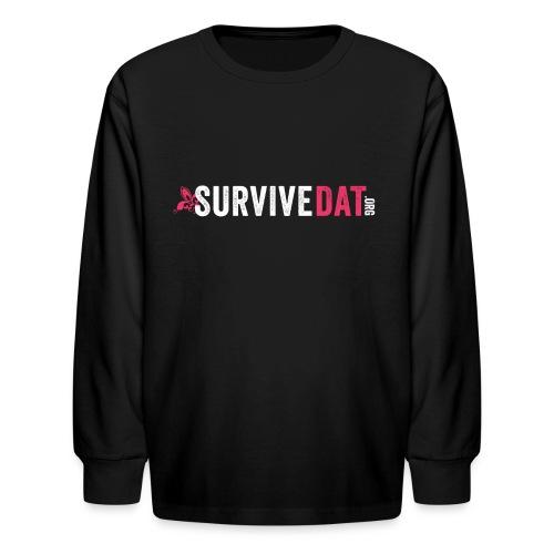 survive dat final logo horizontal pink white notag - Kids' Long Sleeve T-Shirt