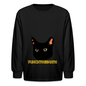 PunchTheEarth Cat with Text - Kids' Long Sleeve T-Shirt