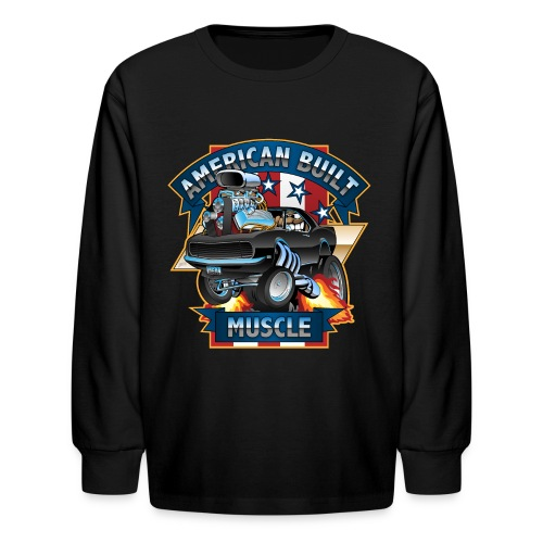 American Built Muscle - Classic Muscle Car Cartoon - Kids' Long Sleeve T-Shirt