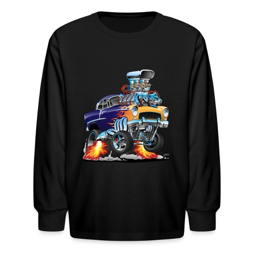 Classic Fifties Hot Rod Muscle Car Cartoon - Kids' Long Sleeve T-Shirt