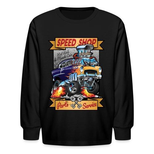Speed Shop Hot Rod Muscle Car Cartoon Illustration - Kids' Long Sleeve T-Shirt