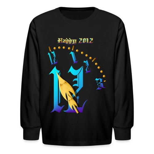 Happy 2012-Clock Striking 12:NM - Kids' Long Sleeve T-Shirt