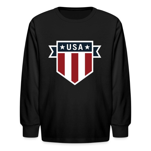 USA Pride Red White and Blue Patriotic Shield - Kids' Long Sleeve T-Shirt