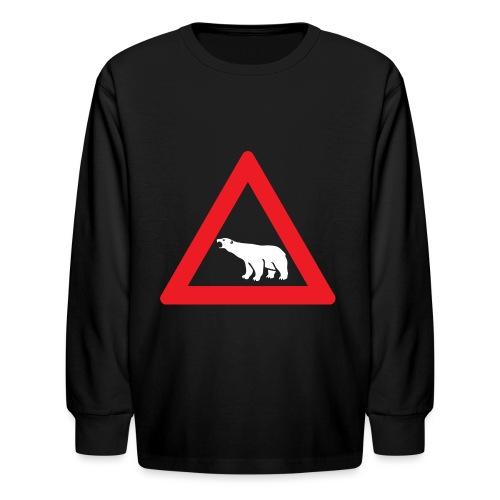 Polar Bear Road Sign - Kids' Long Sleeve T-Shirt