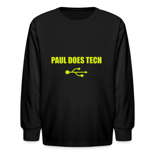 Paul Does Tech Yellow Logo With USB (MERCH) - Kids' Long Sleeve T-Shirt