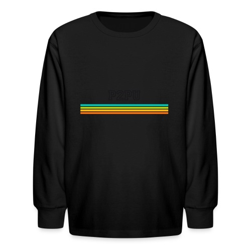 striped mug black logo png - Kids' Long Sleeve T-Shirt