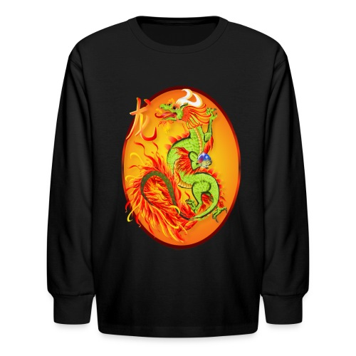 New Year Dragon and Symbol Oval - Kids' Long Sleeve T-Shirt