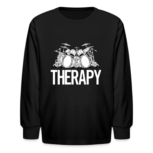 Drummers Therapy Drum Set Cartoon Illustration - Kids' Long Sleeve T-Shirt