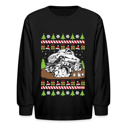 Mud Truck Ugly Christmas - Kids' Long Sleeve T-Shirt