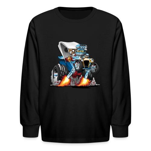 Custom T-bucket Roadster Hotrod Cartoon - Kids' Long Sleeve T-Shirt