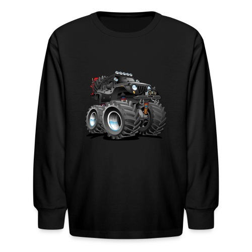 Off road 4x4 black jeeper cartoon - Kids' Long Sleeve T-Shirt