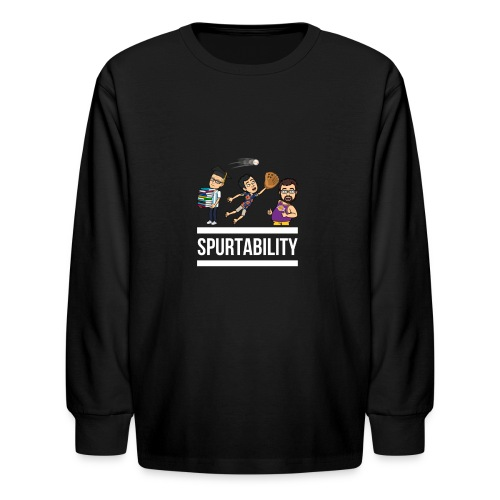 Spurtability White Text - Kids' Long Sleeve T-Shirt
