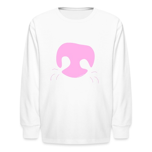 Pink Whimsical Dog Nose - Kids' Long Sleeve T-Shirt