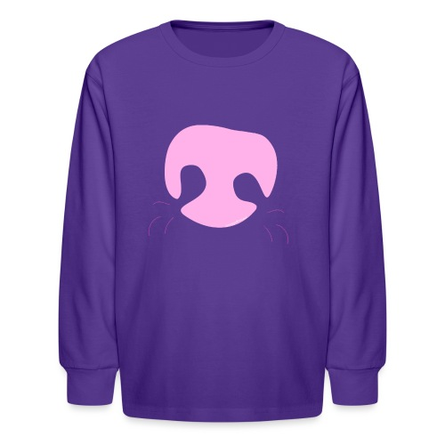 Pink Whimsical Dog Nose - Kids' Long Sleeve T-Shirt