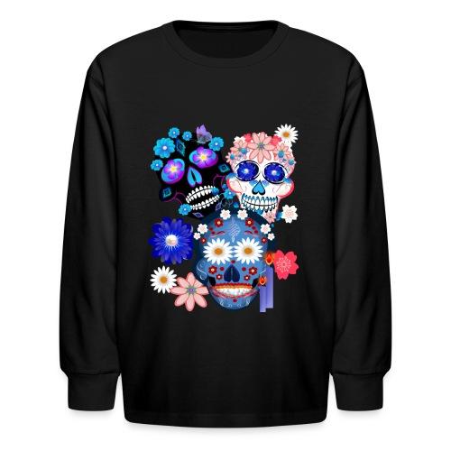 3 Skulls-Day Of The Dead - Kids' Long Sleeve T-Shirt