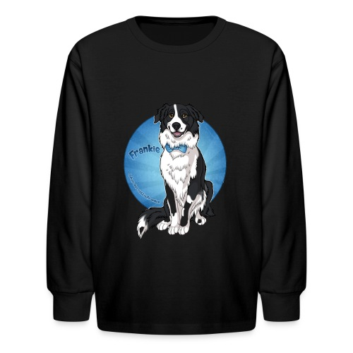 Border Collie Frankie Full Colour With Name - Kids' Long Sleeve T-Shirt